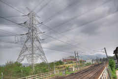 Train track and power tower Royalty Free Stock Photo