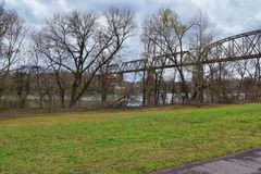 Train track railway bridge views along the Shelby Bottoms Greenway and Natural Area over Cumberland River frontage trails, Music C. Ity Nashville, Tennessee royalty free stock images