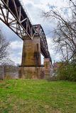 Train track railway bridge views along the Shelby Bottoms Greenway and Natural Area over Cumberland River frontage trails, Music C. Ity Nashville, Tennessee royalty free stock photos