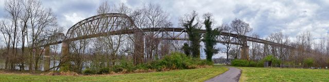 Train track railway bridge views along the Shelby Bottoms Greenway and Natural Area over Cumberland River frontage trails, Music C. Ity Nashville, Tennessee royalty free stock photography
