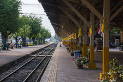 Train track, railway station or platform,Station Lampang, Lampan Royalty Free Stock Photography