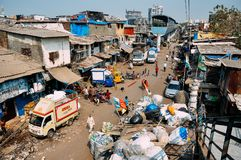 The Dharavi slum in Mumbai, India. The world famous Dharavi slum in Mumbai, India royalty free stock image
