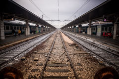 Train track in Santa Lucia station Royalty Free Stock Images