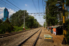 The train track slums of central Jakarta, Indonesia Royalty Free Stock Photography