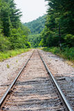 Train track straight. Straight path of a train track Royalty Free Stock Image
