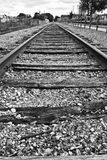 Train Track To Nowhere. Old Obsolete Train Tracks Out of Service Run To the Horizon Empty stock image