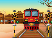 Train on the track to the western town. Illustration Stock Image