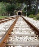 Train tracke. Train tracks leading into a tunnel Royalty Free Stock Image