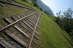 Train Tracks. That disappear into distance royalty free stock photography