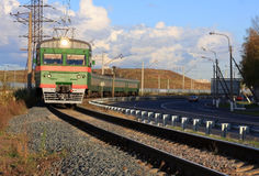 Train on tracks Royalty Free Stock Photo
