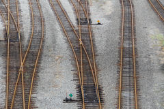 Train tracks. Switching station for railroad tracks in railroad yard Royalty Free Stock Photos