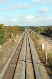 Train tracks. Train tracks or lines run off into the distance into the countryside Royalty Free Stock Photography