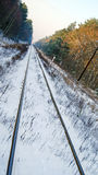 Train tracks. Converge off in the distance Royalty Free Stock Photos