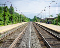 Train tracks. Image of train tracks at a train station Stock Photo