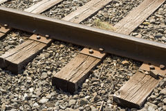 Train tracks. A closeup of some weathered railroad tracks Royalty Free Stock Photography