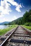 Train Tracks. Near a large lage going through the mountains royalty free stock image