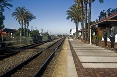 Train Tracks. This is a picture of train tracks leading out of Fullerton, California Stock Images