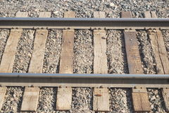 Train tracks. Aerial view close up of single set of train tracks royalty free stock images