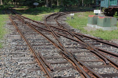Train Tracks. Allaire State Park, Allaire, NJ, USA -- Aug 17, 2016 -- Train tracks replicating an old train yard. Editorial Use Only Royalty Free Stock Photo
