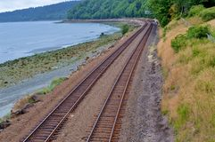 Train tracks. Along the beach in Seattle royalty free stock images