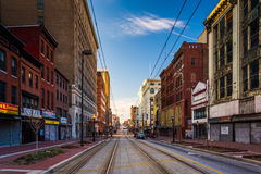 Train tracks along Paca Street in Baltimore, Maryland. Stock Images