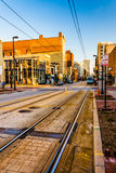 Train tracks along Paca Street in Baltimore, Maryland. Royalty Free Stock Photos