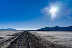 Train Tracks Altiplano Bolivia Desert Salar de Uyuni Royalty Free Stock Image