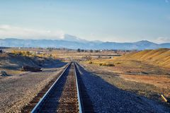 Train tracks around the Cradleboard Trail walking path on the Carolyn Holmberg Preserve in Broomfield with views of hiking trails,. By Denver Colorado, Rocky stock image