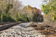 Train tracks in an autumn landscape Royalty Free Stock Photos