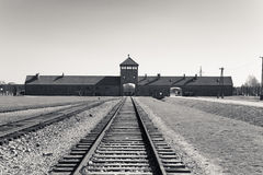 Train tracks into Birkenau Concentration Camp, Poland Stock Images