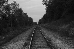 Train tracks black and white Stock Photography