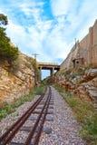 Train tracks and bridge stock photo