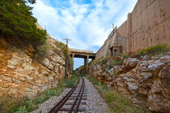 Train tracks and bridge. View of old, abandoned train tracks and bridge stock image