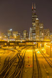 Train Tracks with Chicago City Royalty Free Stock Images