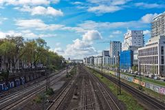 Train tracks through city Stock Photography
