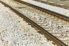 Train Tracks. Close up of Train Tracks and stones royalty free stock photos