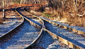 Converging Tracks. Train Tracks converging/diverging at a switch Stock Image