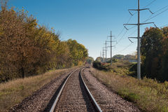 Train Tracks Curve to Distance Stock Photography