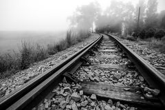 Train Tracks curves to the left Royalty Free Stock Photos