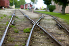 Train tracks in Dalhem gotland.JH. Old train track in the small city Dalhem on the island Gotland in Sweden royalty free stock image