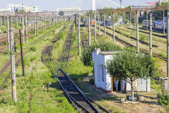 Train Tracks in depot Stock Photography