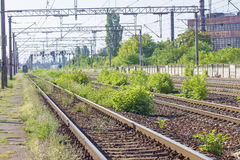 Train Tracks in depot Royalty Free Stock Images