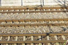 Train Tracks in depot Royalty Free Stock Photo