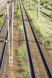 Train Tracks in depot Stock Photo