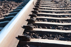 Train tracks. Detail of the joints and gravel royalty free stock image