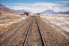 Train tracks into distant horizon Stock Photography