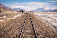 Train tracks into distant horizon Stock Photography