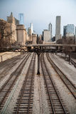 Train Tracks Downtown City Skyline Chicago Metro Royalty Free Stock Image