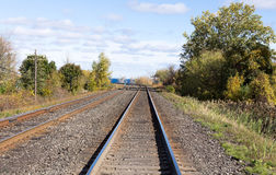 Train tracks edged by trees. Train tracks edged by trees leading off into the distance Royalty Free Stock Photography