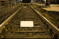 Train tracks empty sign Stock Photo